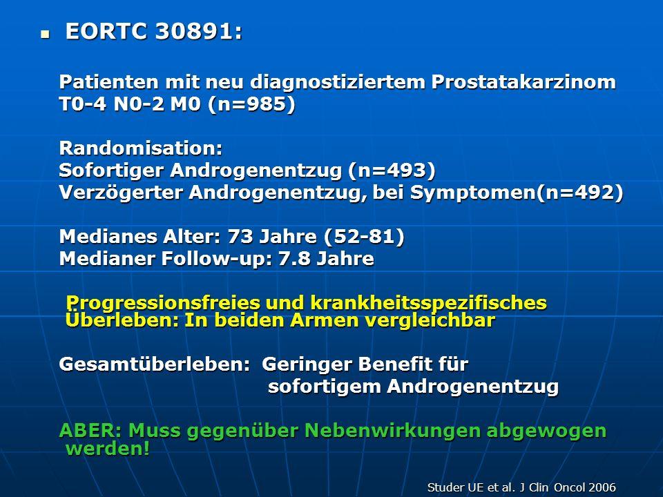 EORTC 30891: EORTC 30891: Patienten mit neu diagnostiziertem Prostatakarzinom Patienten mit neu diagnostiziertem Prostatakarzinom T0-4 N0-2 M0 (n=985)