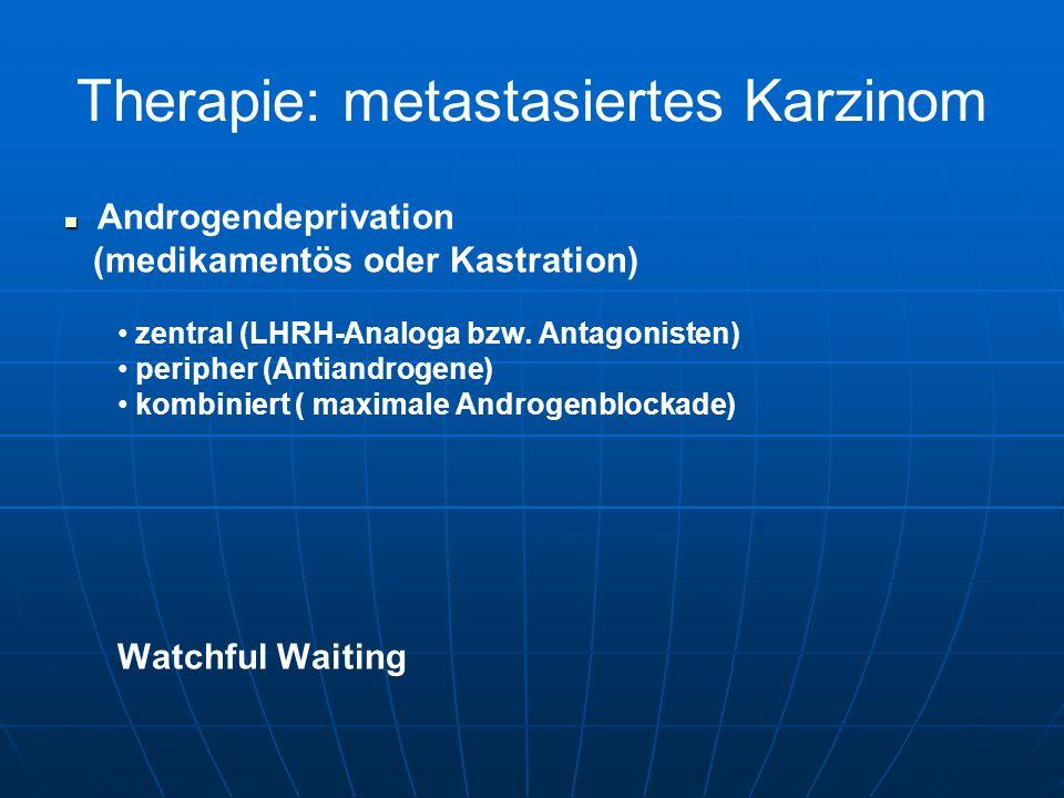 Therapie: metastasiertes Karzinom Androgendeprivation (medikamentös oder Kastration) zentral (LHRH-Analoga bzw. Antagonisten) peripher (Antiandrogene)