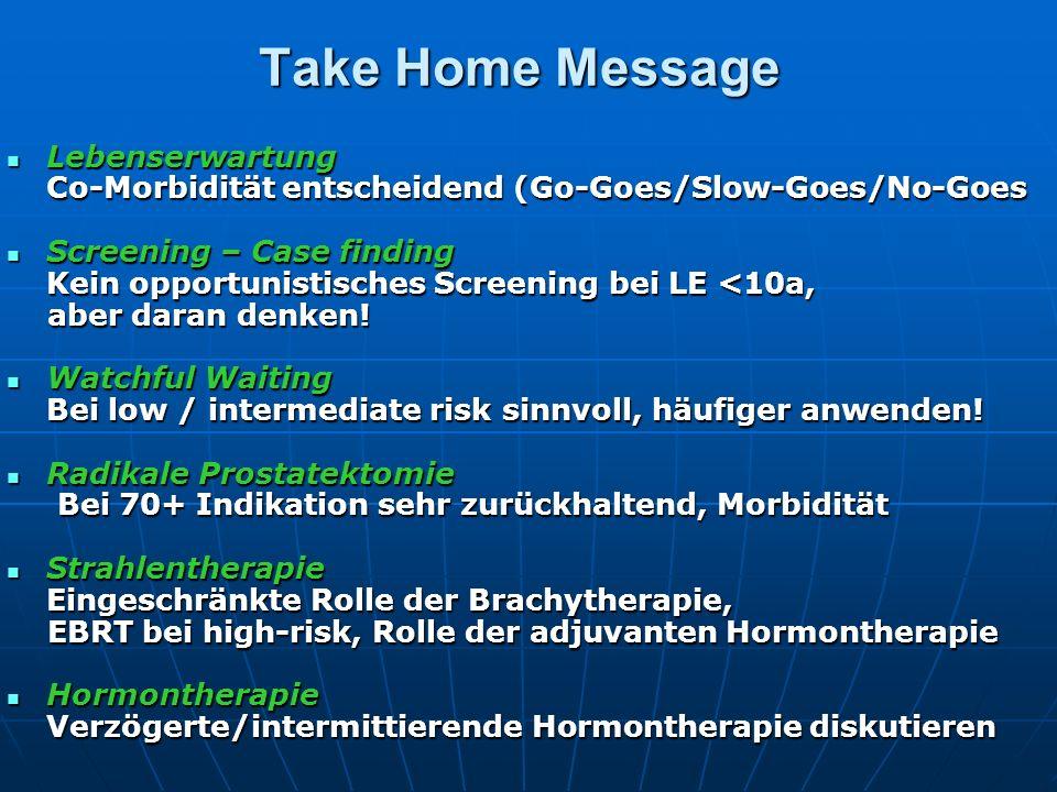 Take Home Message Lebenserwartung Lebenserwartung Co-Morbidität entscheidend (Go-Goes/Slow-Goes/No-Goes Screening – Case finding Screening – Case find