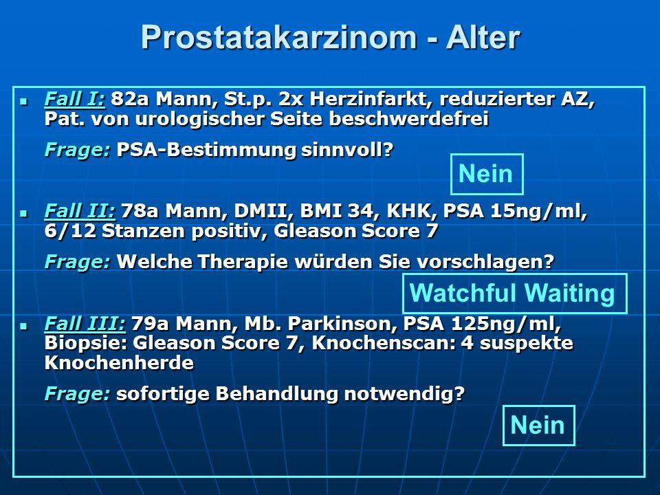 Prostatakarzinom - Alter Fall I: 82a Mann, St.p. 2x Herzinfarkt, reduzierter AZ, Pat. von urologischer Seite beschwerdefrei Fall I: 82a Mann, St.p. 2x