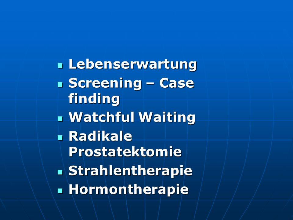 EORTC 30891: EORTC 30891: Patienten mit neu diagnostiziertem Prostatakarzinom Patienten mit neu diagnostiziertem Prostatakarzinom T0-4 N0-2 M0 (n=985) T0-4 N0-2 M0 (n=985) Randomisation: Randomisation: Sofortiger Androgenentzug (n=493) Sofortiger Androgenentzug (n=493) Verzögerter Androgenentzug, bei Symptomen(n=492) Verzögerter Androgenentzug, bei Symptomen(n=492) Medianes Alter: 73 Jahre (52-81) Medianes Alter: 73 Jahre (52-81) Medianer Follow-up: 7.8 Jahre Medianer Follow-up: 7.8 Jahre Progressionsfreies und krankheitsspezifisches Überleben: In beiden Armen vergleichbar Progressionsfreies und krankheitsspezifisches Überleben: In beiden Armen vergleichbar Gesamtüberleben: Geringer Benefit für Gesamtüberleben: Geringer Benefit für sofortigem Androgenentzug sofortigem Androgenentzug ABER: Muss gegenüber Nebenwirkungen abgewogen werden.