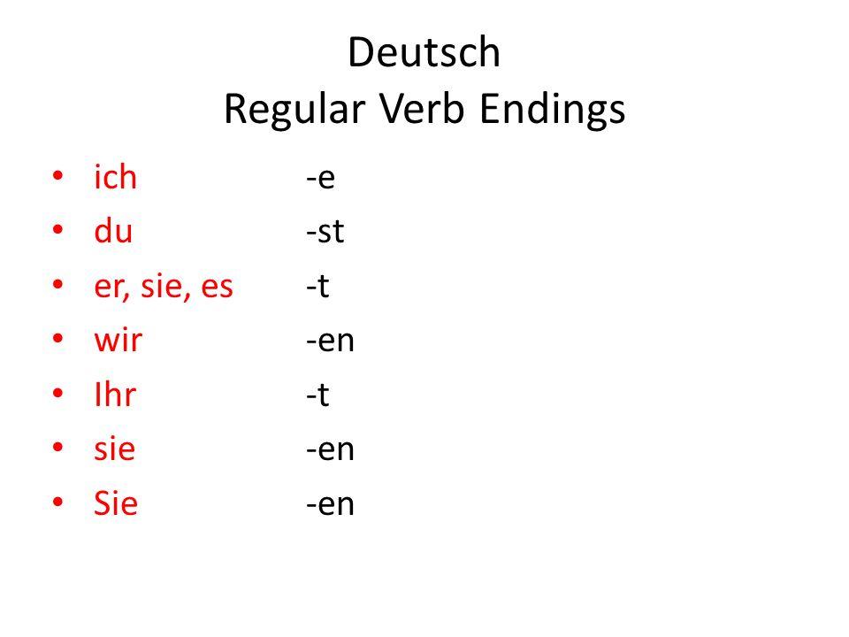 Deutsch Regular Verb Endings ich-e du-st er, sie, es-t wir-en Ihr-t sie-en Sie-en
