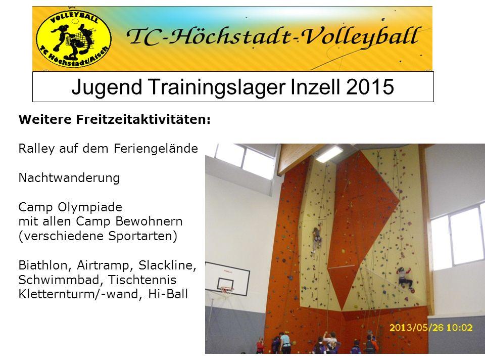 Jugend Trainingslager Inzell 2015 Weitere Freitzeitaktivitäten: Ralley auf dem Feriengelände Nachtwanderung Camp Olympiade mit allen Camp Bewohnern (v