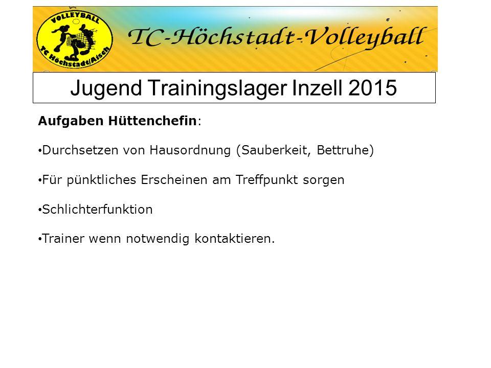 Jugend Trainingslager Inzell 2015 Aufgaben Hüttenchefin: Durchsetzen von Hausordnung (Sauberkeit, Bettruhe) Für pünktliches Erscheinen am Treffpunkt s