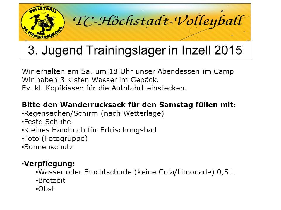 3. Jugend Trainingslager in Inzell 2015 Wir erhalten am Sa. um 18 Uhr unser Abendessen im Camp Wir haben 3 Kisten Wasser im Gepäck. Ev. kl. Kopfkissen