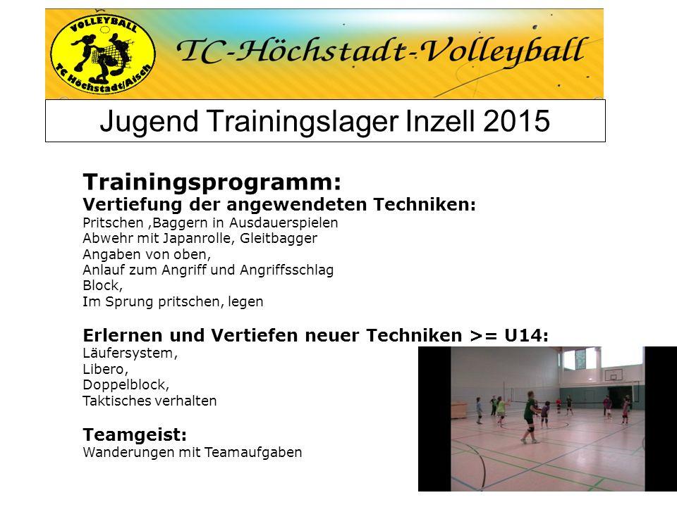 Jugend Trainingslager Inzell 2015 Trainingsprogramm: Vertiefung der angewendeten Techniken: Pritschen,Baggern in Ausdauerspielen Abwehr mit Japanrolle
