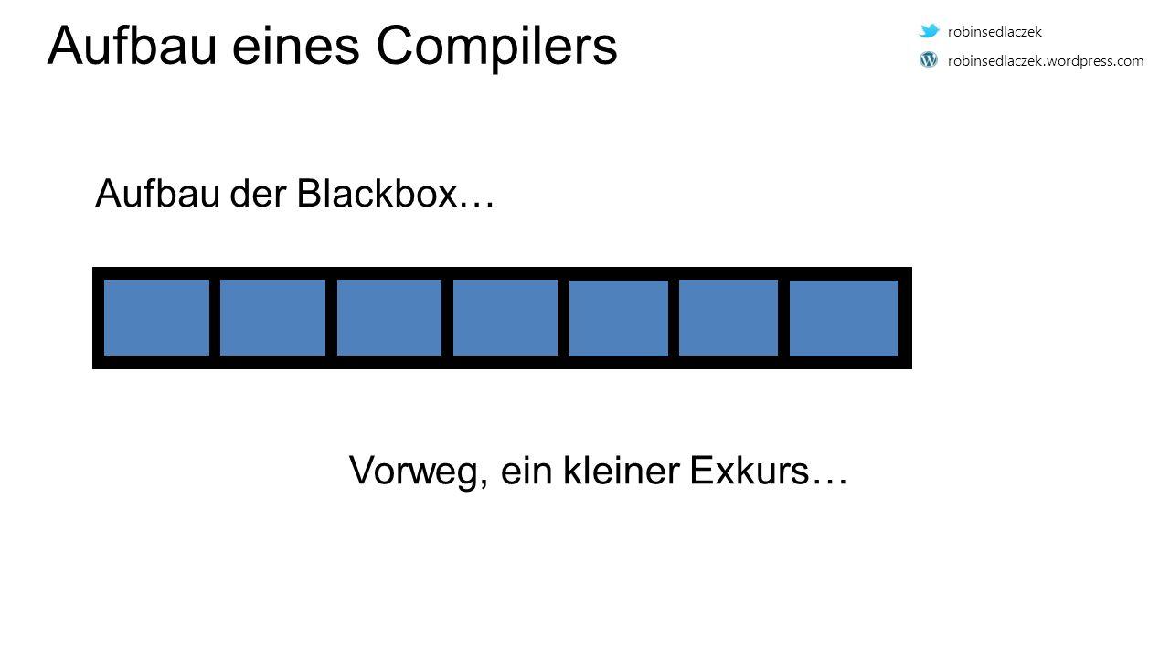 Aufbau eines Compilers Vorweg, ein kleiner Exkurs… Aufbau der Blackbox… robinsedlaczek robinsedlaczek.wordpress.com