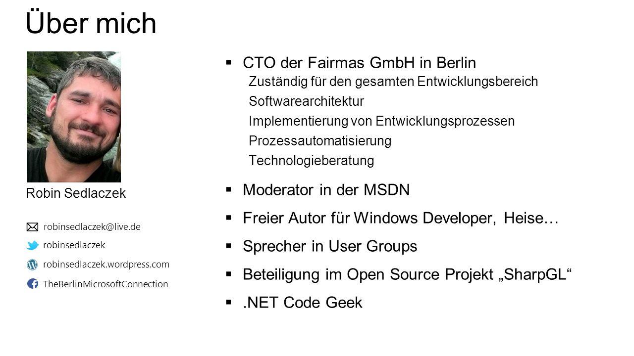 Über mich  CTO der Fairmas GmbH in Berlin Zuständig für den gesamten Entwicklungsbereich Softwarearchitektur Implementierung von Entwicklungsprozesse