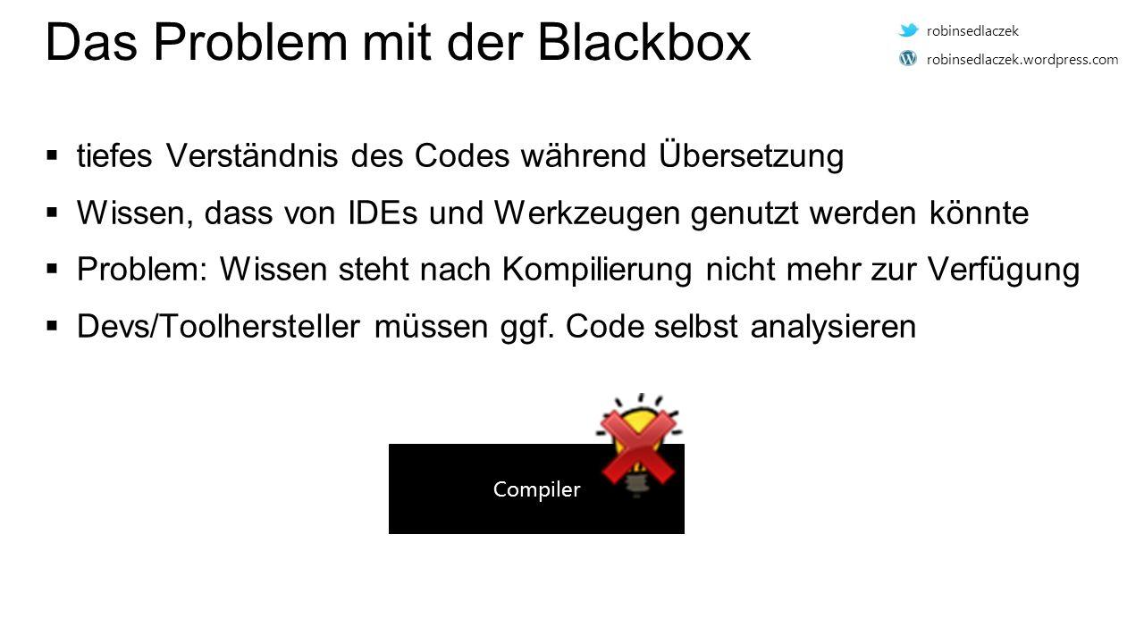 Das Problem mit der Blackbox  tiefes Verständnis des Codes während Übersetzung  Wissen, dass von IDEs und Werkzeugen genutzt werden könnte  Problem