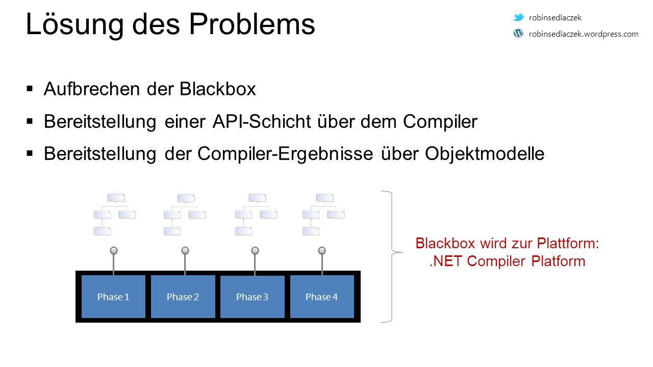 Lösung des Problems  Aufbrechen der Blackbox  Bereitstellung einer API-Schicht über dem Compiler  Bereitstellung der Compiler-Ergebnisse über Objektmodelle Phase 1 Phase 2 Phase 3 Phase 4 Blackbox wird zur Plattform:.NET Compiler Platform robinsedlaczek robinsedlaczek.wordpress.com