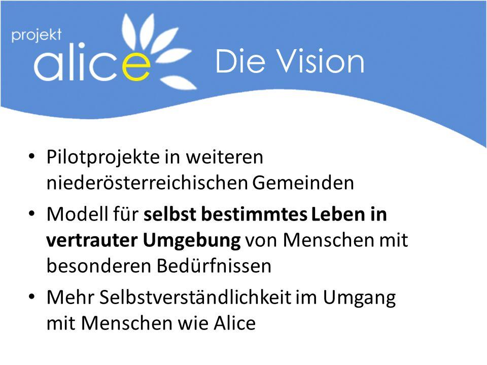 Pilotprojekte in weiteren niederösterreichischen Gemeinden Modell für selbst bestimmtes Leben in vertrauter Umgebung von Menschen mit besonderen Bedürfnissen Mehr Selbstverständlichkeit im Umgang mit Menschen wie Alice Die Vision
