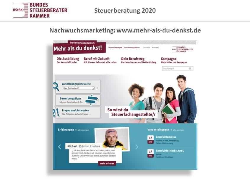 Steuerberatung 2020 Nachwuchsmarketing: www.mehr-als-du-denkst.de