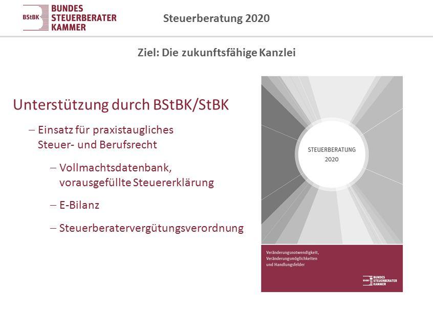 Steuerberatung 2020 Ziel: Die zukunftsfähige Kanzlei Unterstützung durch BStBK/StBK  Einsatz für praxistaugliches Steuer- und Berufsrecht  Vollmacht