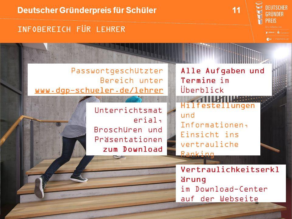 Deutscher Gründerpreis für Schüler INFOBEREICH FÜR LEHRER Passwortgeschützter Bereich unter www.dgp-schueler.de/lehrer 11 Hilfestellungen und Informat