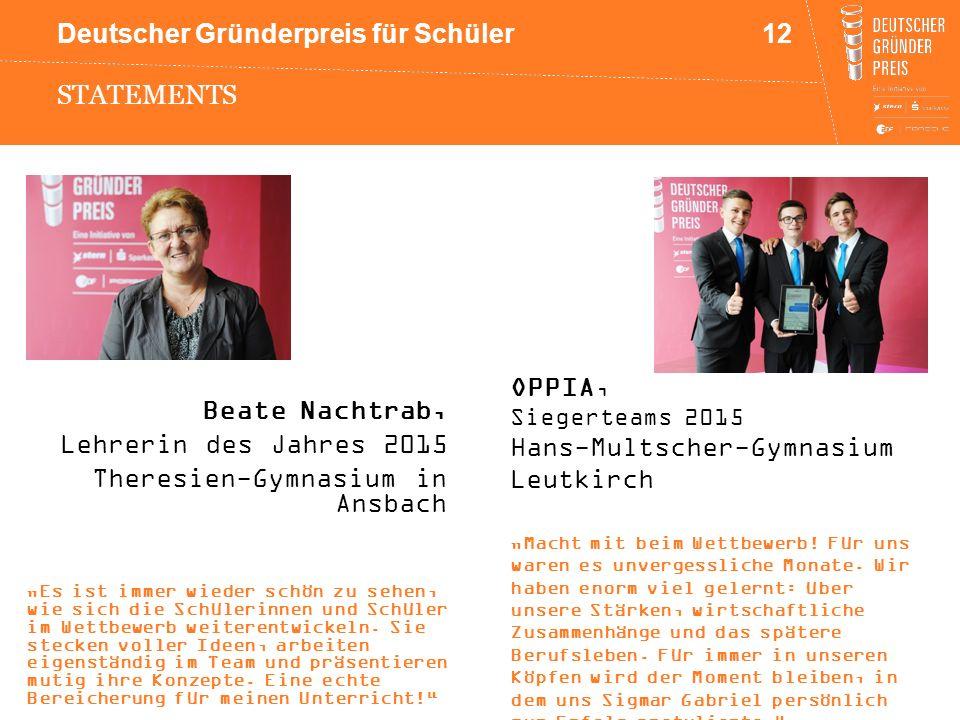 """Deutscher Gründerpreis für Schüler STATEMENTS Beate Nachtrab, Lehrerin des Jahres 2015 Theresien-Gymnasium in Ansbach """"Es ist immer wieder schön zu se"""