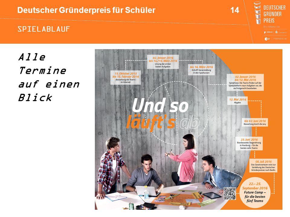 Deutscher Gründerpreis für Schüler SPIELABLAUF Alle Termine auf einen Blick 14
