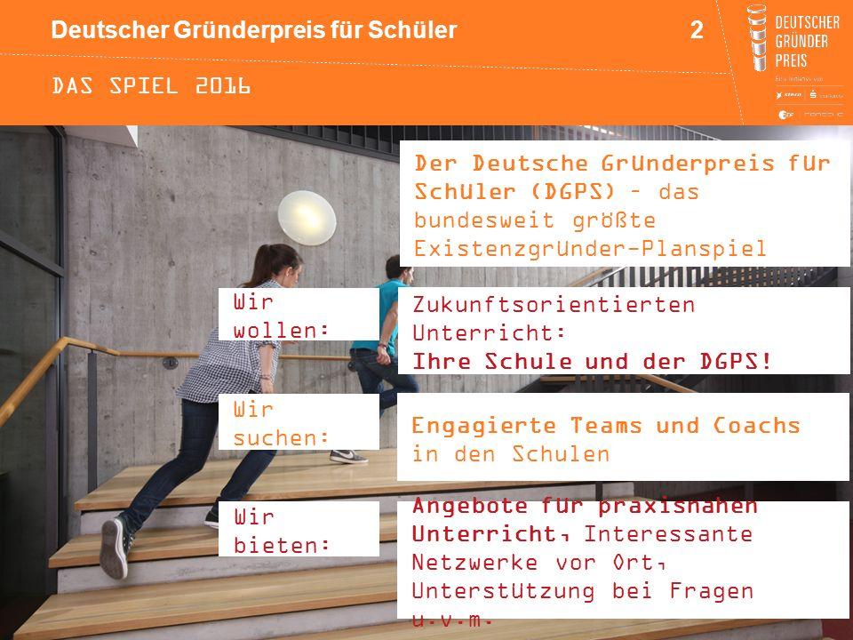 Deutscher Gründerpreis für Schüler DAS SPIEL 2016 Der Deutsche Gründerpreis für Schüler (DGPS) – das bundesweit größte Existenzgründer-Planspiel 2 Eng