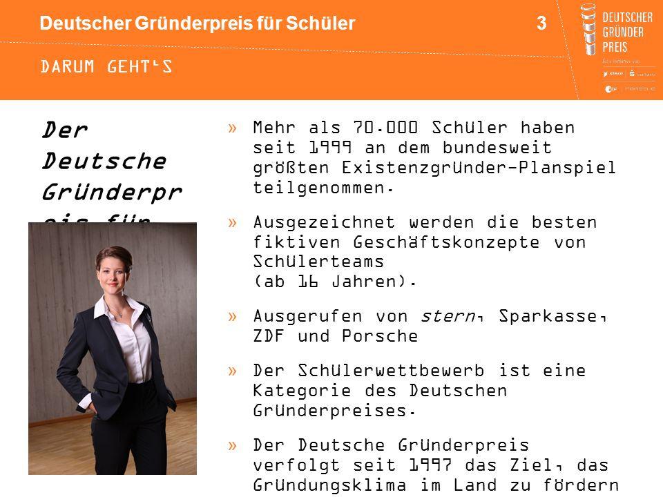 Deutscher Gründerpreis für Schüler DARUM GEHT'S »Mehr als 70.000 Schüler haben seit 1999 an dem bundesweit größten Existenzgründer-Planspiel teilgenom