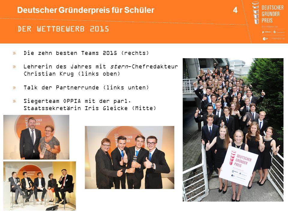 Deutscher Gründerpreis für Schüler DER WETTBEWERB 2015 4 »Die zehn besten Teams 2015 (rechts) »Lehrerin des Jahres mit stern-Chefredakteur Christian K