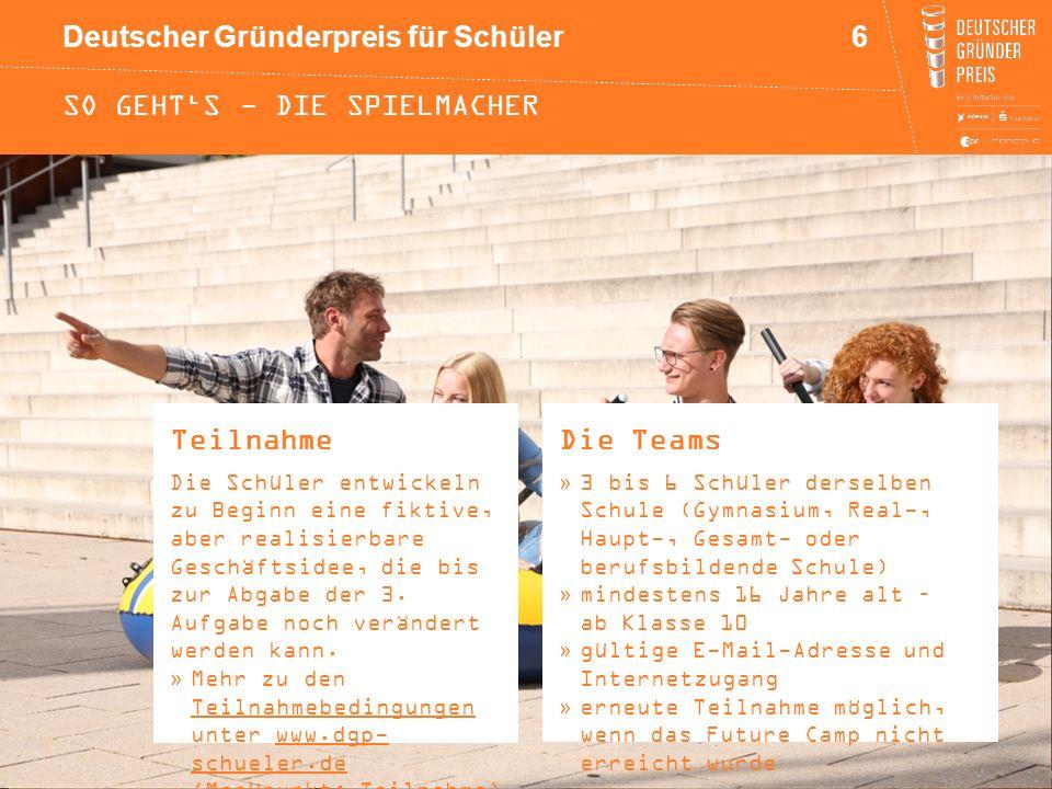 Deutscher Gründerpreis für Schüler SO GEHT'S - DIE SPIELMACHER Teilnahme Die Schüler entwickeln zu Beginn eine fiktive, aber realisierbare Geschäftsid