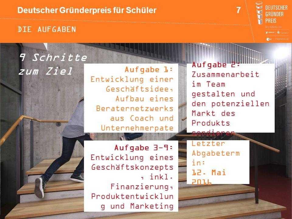 Deutscher Gründerpreis für Schüler DIE AUFGABEN 9 Schritte zum Ziel Aufgabe 1: Entwicklung einer Geschäftsidee, Aufbau eines Beraternetzwerks aus Coac