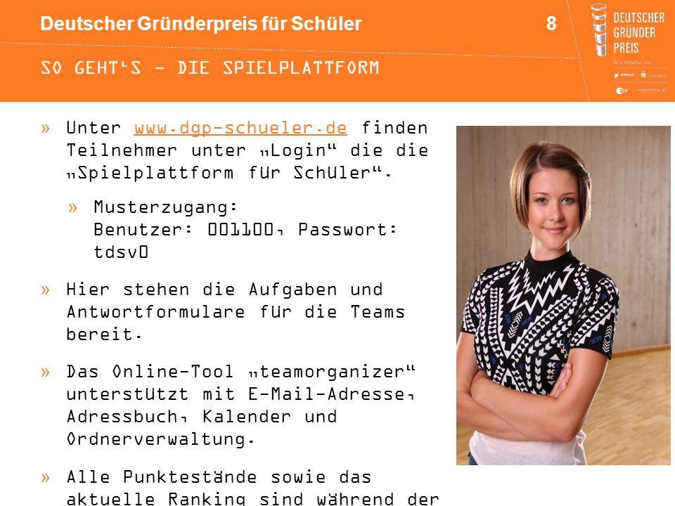 """Deutscher Gründerpreis für Schüler SO GEHT'S - DIE SPIELPLATTFORM »Unter www.dgp-schueler.de finden Teilnehmer unter """"Login"""" die die """"Spielplattform f"""