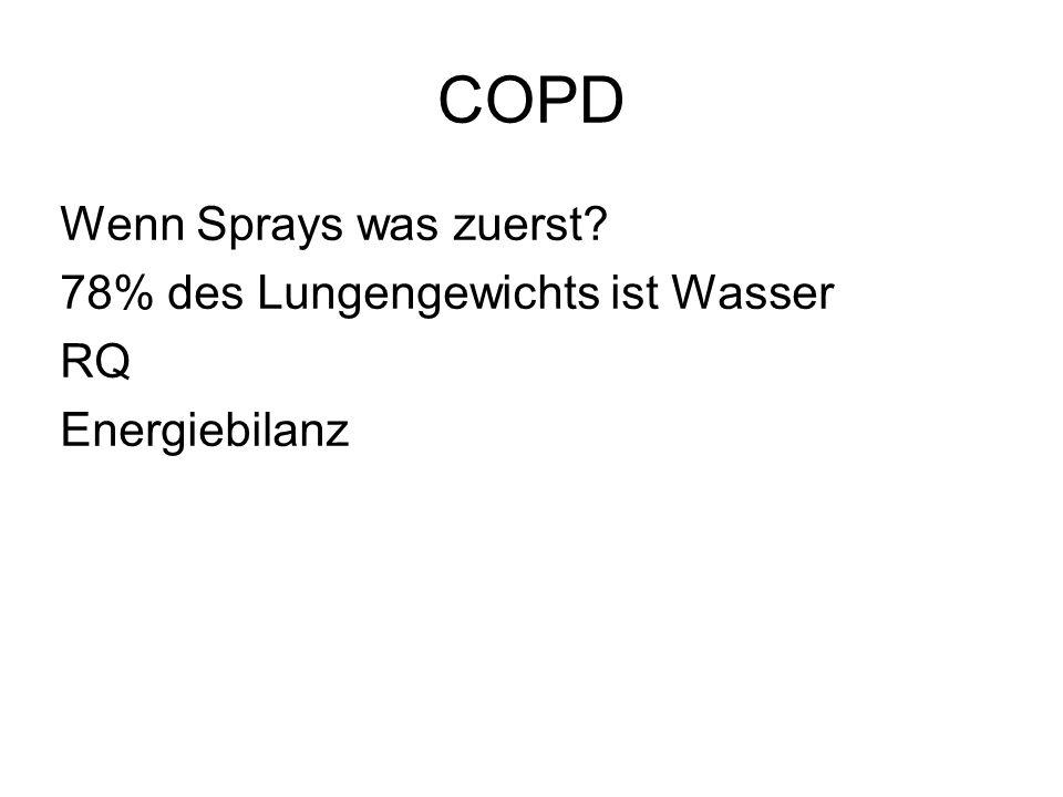 COPD Wenn Sprays was zuerst? 78% des Lungengewichts ist Wasser RQ Energiebilanz