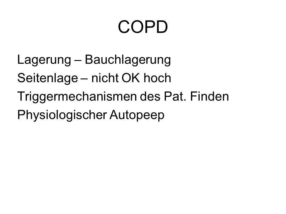 COPD Lagerung – Bauchlagerung Seitenlage – nicht OK hoch Triggermechanismen des Pat. Finden Physiologischer Autopeep