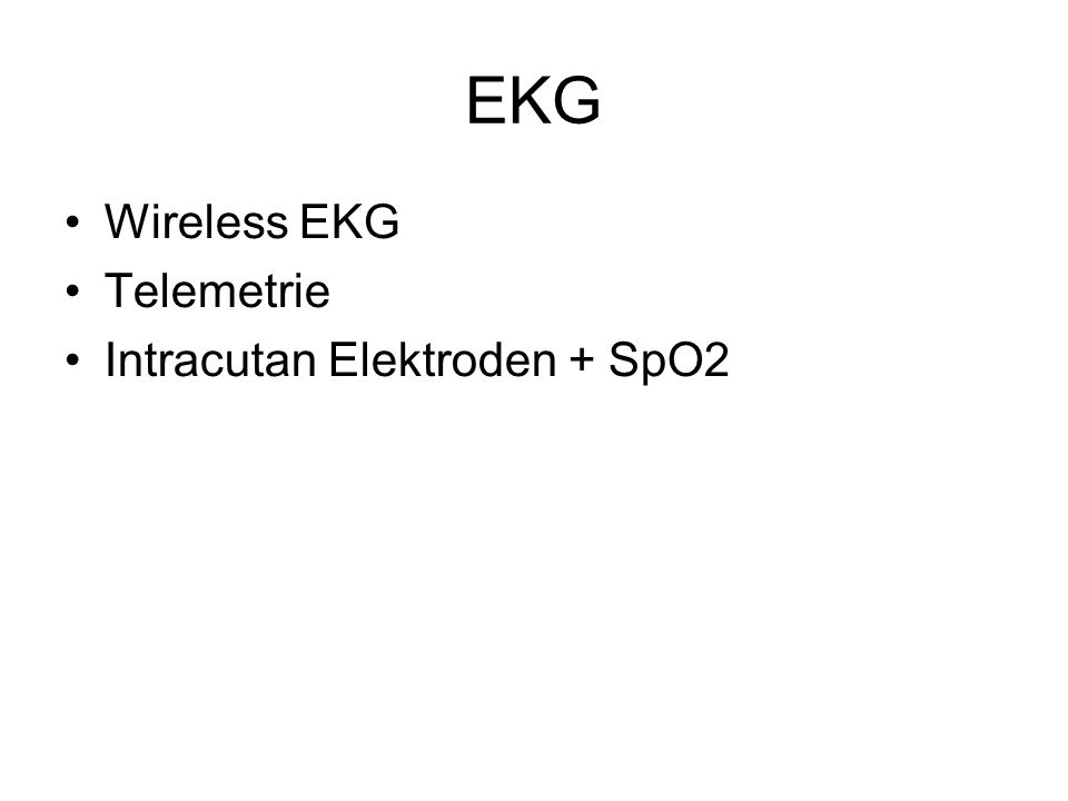 EKG Wireless EKG Telemetrie Intracutan Elektroden + SpO2