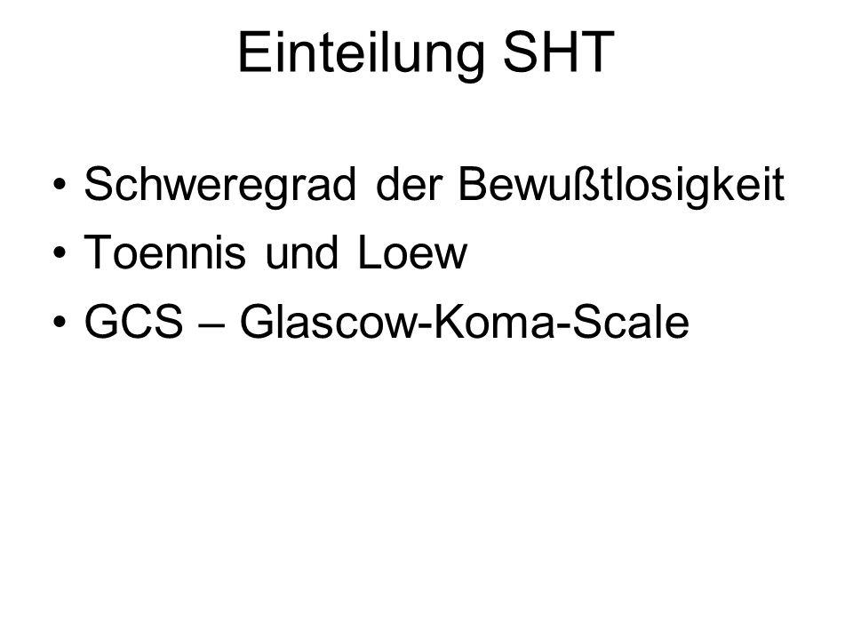Einteilung SHT Schweregrad der Bewußtlosigkeit Toennis und Loew GCS – Glascow-Koma-Scale