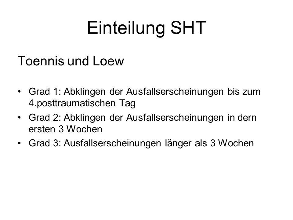Einteilung SHT Toennis und Loew Grad 1: Abklingen der Ausfallserscheinungen bis zum 4.posttraumatischen Tag Grad 2: Abklingen der Ausfallserscheinunge