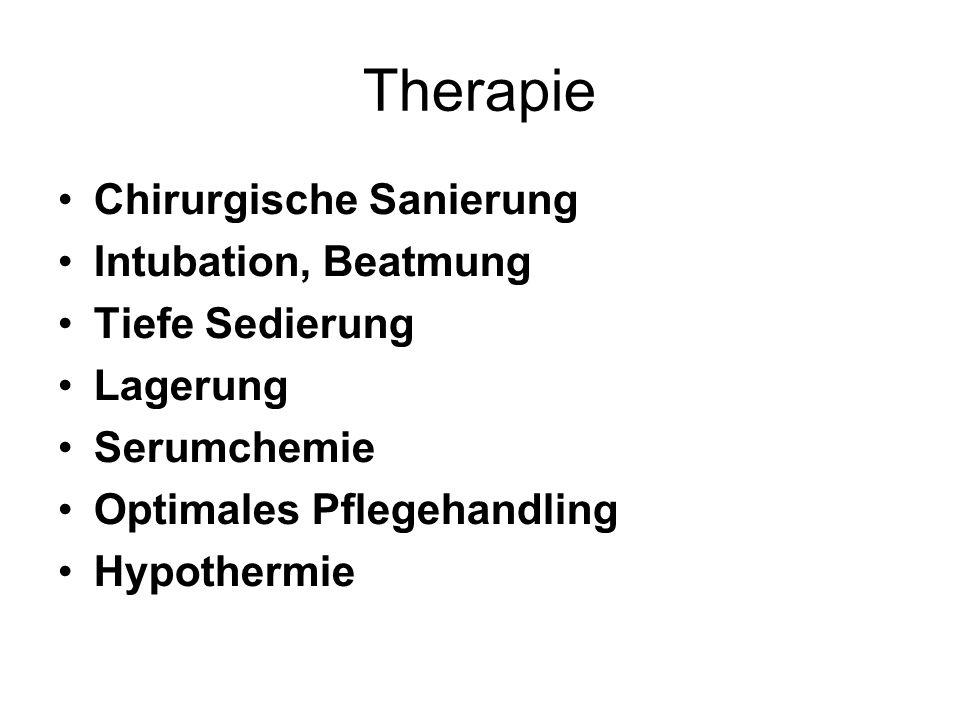 Therapie Chirurgische Sanierung Intubation, Beatmung Tiefe Sedierung Lagerung Serumchemie Optimales Pflegehandling Hypothermie