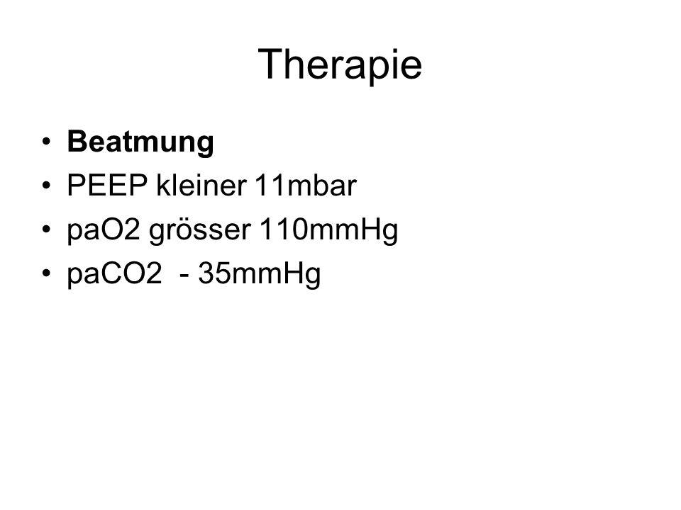Therapie Beatmung PEEP kleiner 11mbar paO2 grösser 110mmHg paCO2 - 35mmHg