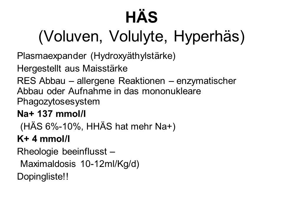 HÄS (Voluven, Volulyte, Hyperhäs) Plasmaexpander (Hydroxyäthylstärke) Hergestellt aus Maisstärke RES Abbau – allergene Reaktionen – enzymatischer Abba