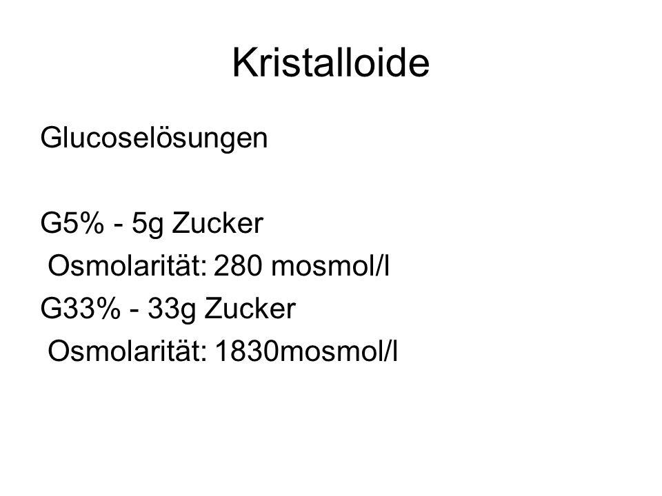 Kristalloide Glucoselösungen G5% - 5g Zucker Osmolarität: 280 mosmol/l G33% - 33g Zucker Osmolarität: 1830mosmol/l
