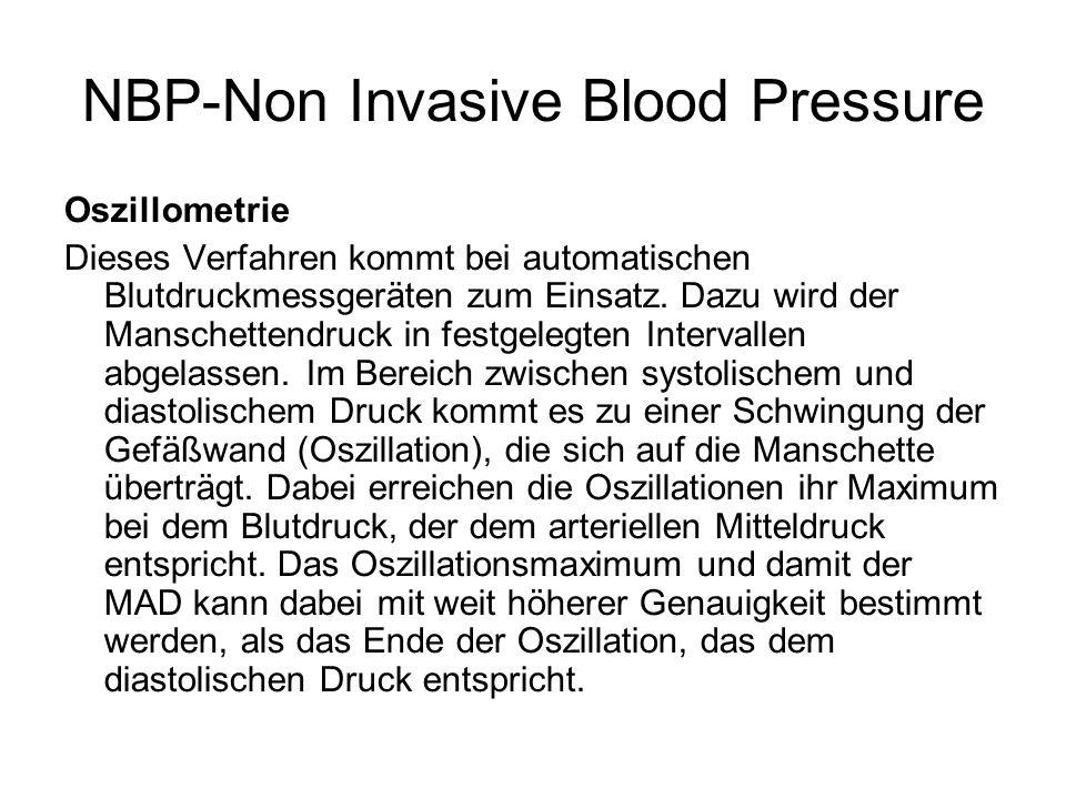 Oszillometrie Dieses Verfahren kommt bei automatischen Blutdruckmessgeräten zum Einsatz. Dazu wird der Manschettendruck in festgelegten Intervallen ab