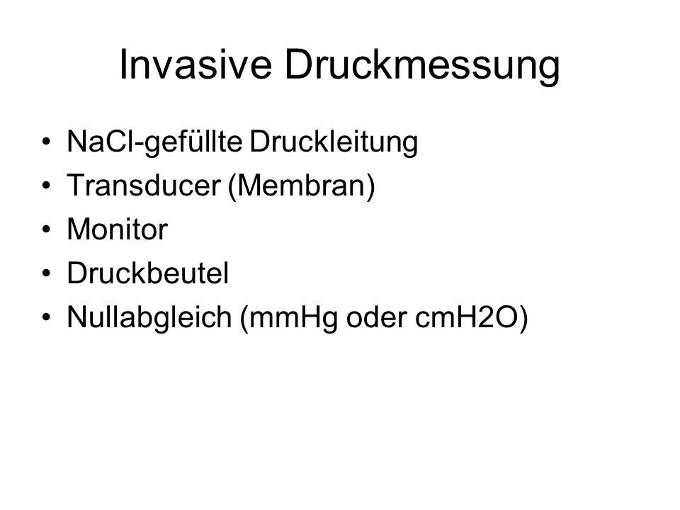 Invasive Druckmessung NaCl-gefüllte Druckleitung Transducer (Membran) Monitor Druckbeutel Nullabgleich (mmHg oder cmH2O)