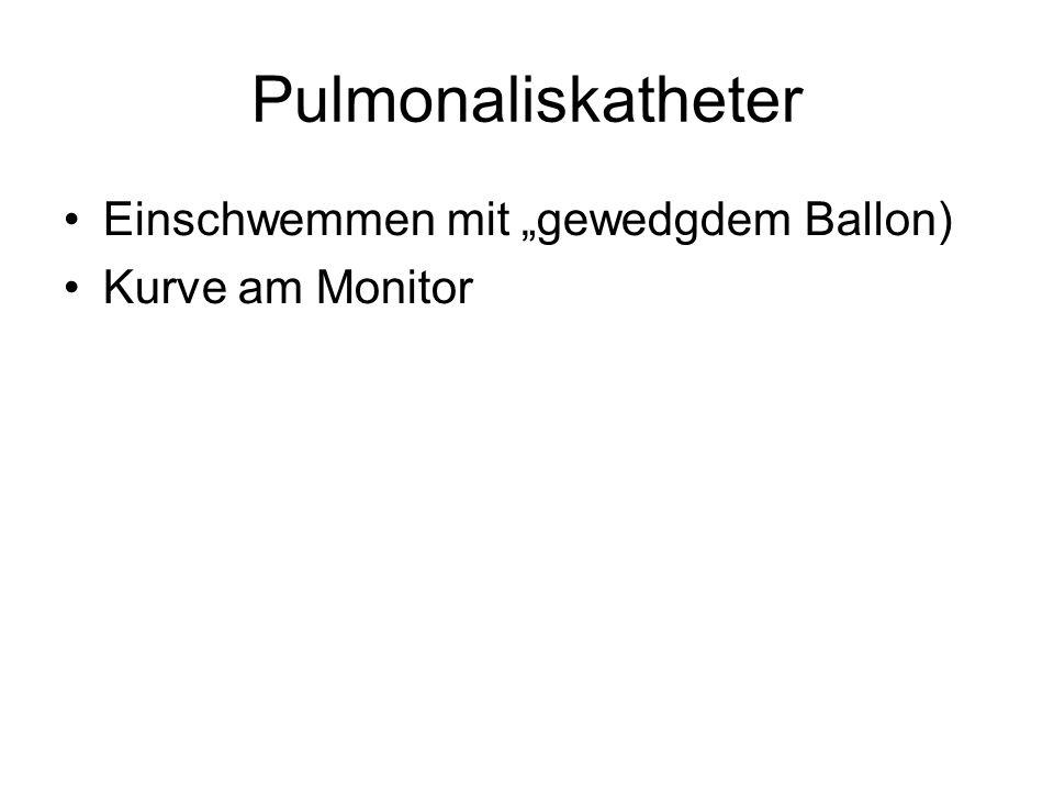 """Pulmonaliskatheter Einschwemmen mit """"gewedgdem Ballon) Kurve am Monitor"""