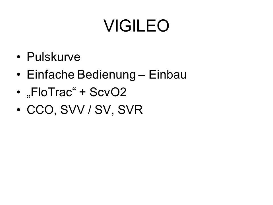 "VIGILEO Pulskurve Einfache Bedienung – Einbau ""FloTrac"" + ScvO2 CCO, SVV / SV, SVR"