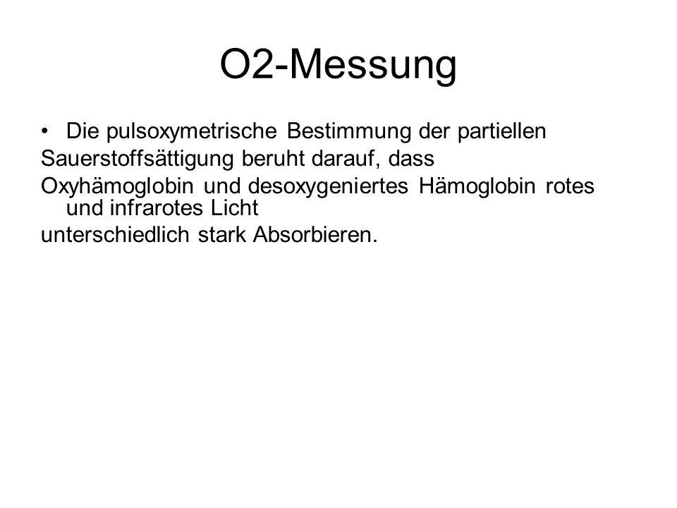 O2-Messung Die pulsoxymetrische Bestimmung der partiellen Sauerstoffsättigung beruht darauf, dass Oxyhämoglobin und desoxygeniertes Hämoglobin rotes u