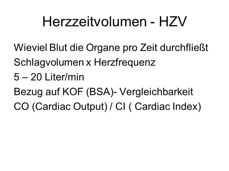 Herzzeitvolumen - HZV Wieviel Blut die Organe pro Zeit durchfließt Schlagvolumen x Herzfrequenz 5 – 20 Liter/min Bezug auf KOF (BSA)- Vergleichbarkeit