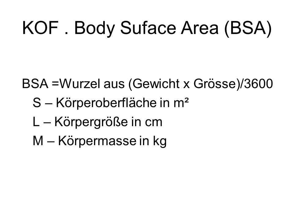 KOF. Body Suface Area (BSA) BSA =Wurzel aus (Gewicht x Grösse)/3600 S – Körperoberfläche in m² L – Körpergröße in cm M – Körpermasse in kg