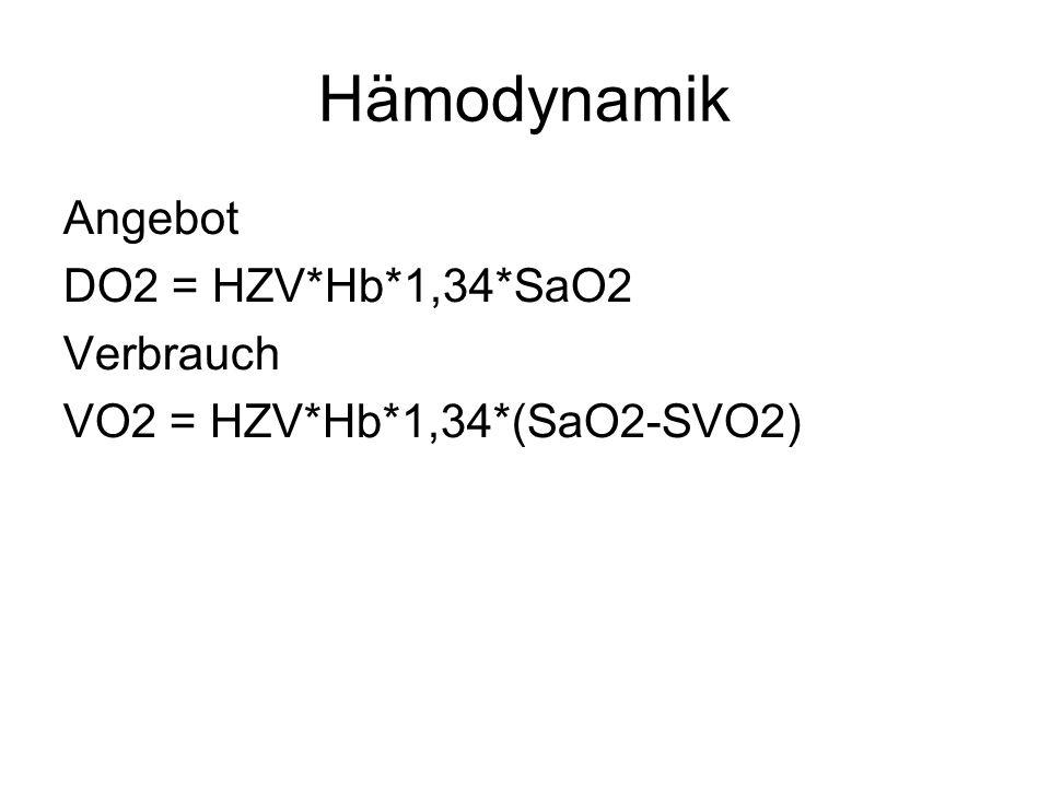 Hämodynamik Angebot DO2 = HZV*Hb*1,34*SaO2 Verbrauch VO2 = HZV*Hb*1,34*(SaO2-SVO2)