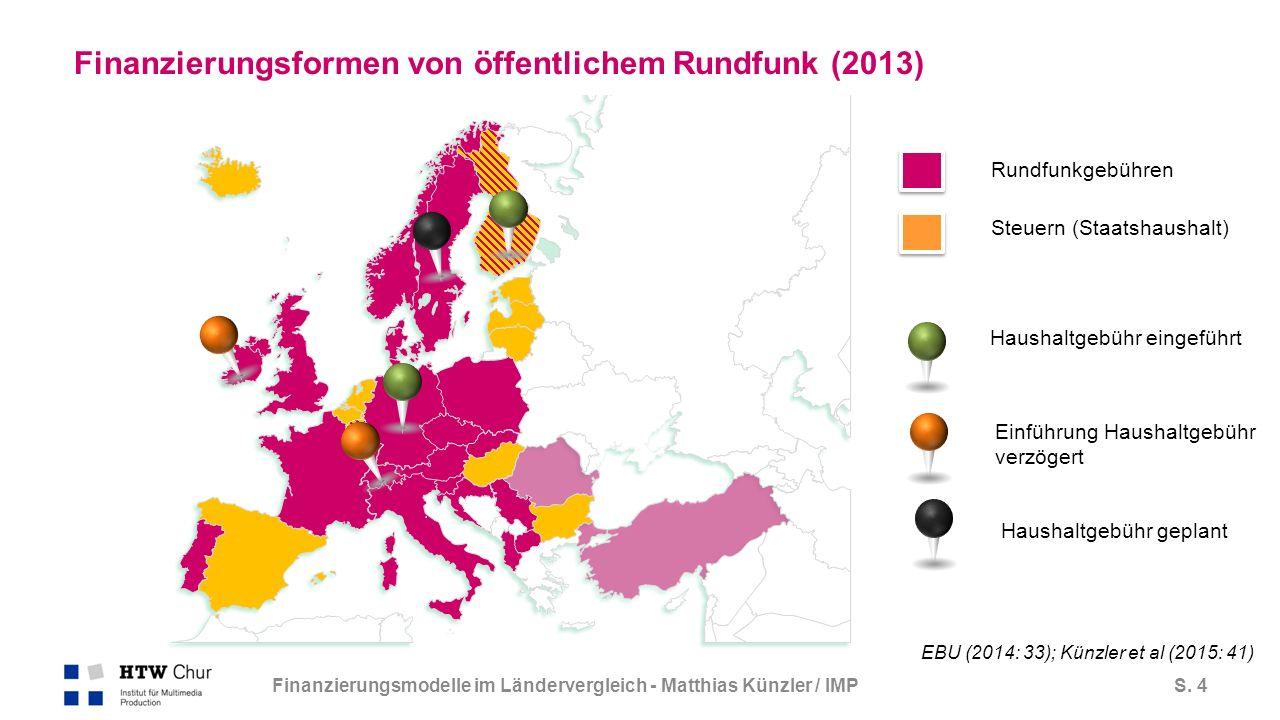 S. 4 Finanzierungsformen von öffentlichem Rundfunk (2013) Rundfunkgebühren Steuern (Staatshaushalt) EBU (2014: 33); Künzler et al (2015: 41) Haushaltg