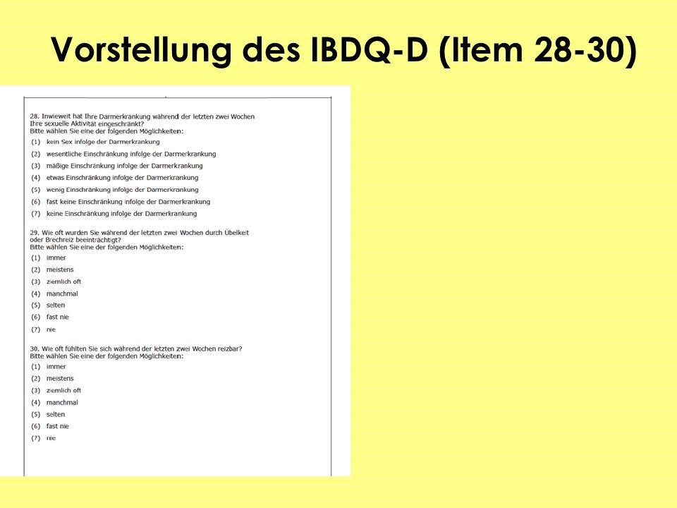 Vorstellung des IBDQ-D (Item 28-30)