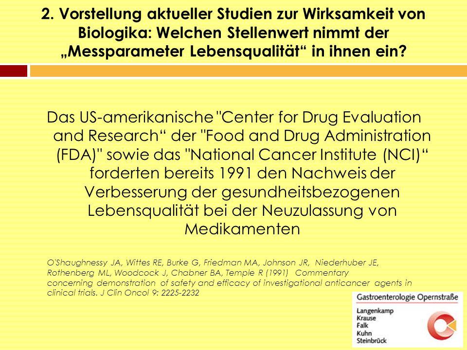 """2. Vorstellung aktueller Studien zur Wirksamkeit von Biologika: Welchen Stellenwert nimmt der """"Messparameter Lebensqualität"""" in ihnen ein? Das US-amer"""