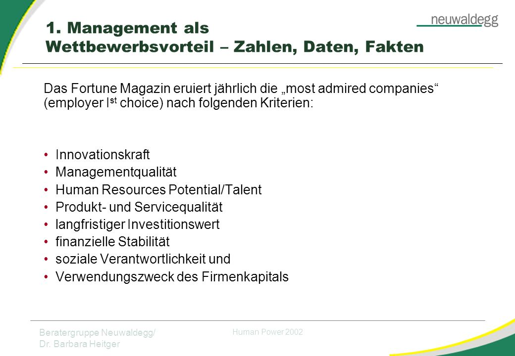 "Beratergruppe Neuwaldegg/ Dr. Barbara Heitger Human Power 2002 Das Fortune Magazin eruiert jährlich die ""most admired companies"" (employer I st choice"