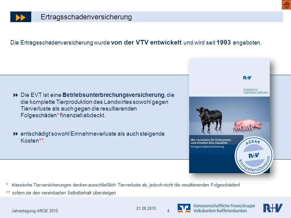 Jahrestagung ARGE 2015 4 Die Ertragsschadenversicherung wurde von der VTV entwickelt und wird seit 1993 angeboten.