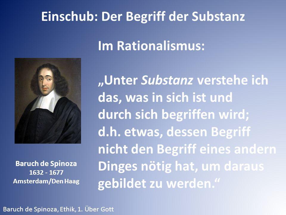 """Baruch de Spinoza 1632 - 1677 Amsterdam/Den Haag Baruch de Spinoza, Ethik, 1. Über Gott Einschub: Der Begriff der Substanz Im Rationalismus: """"Unter Su"""