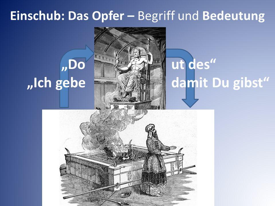 """Einschub: Das Opfer – Begriff und Bedeutung """"Do ut des """"Ich gebe damit Du gibst"""
